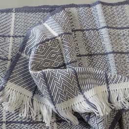 Hand Woven Blue And White Delight By Wandering Weavers